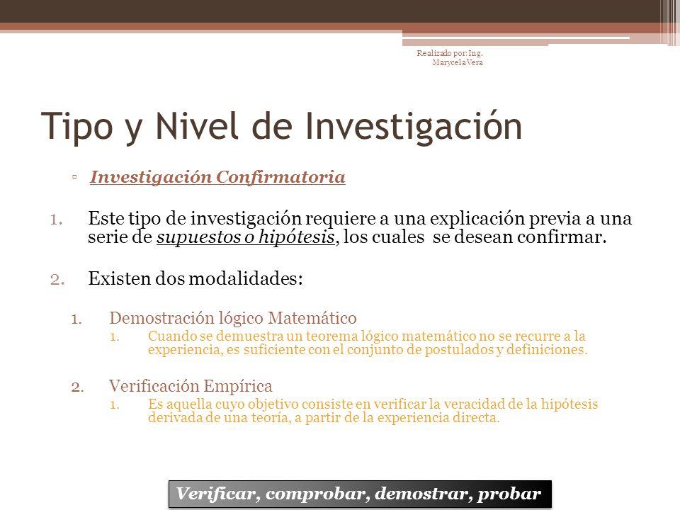 Tipo y Nivel de Investigación Investigación Confirmatoria 1.Este tipo de investigación requiere a una explicación previa a una serie de supuestos o hi