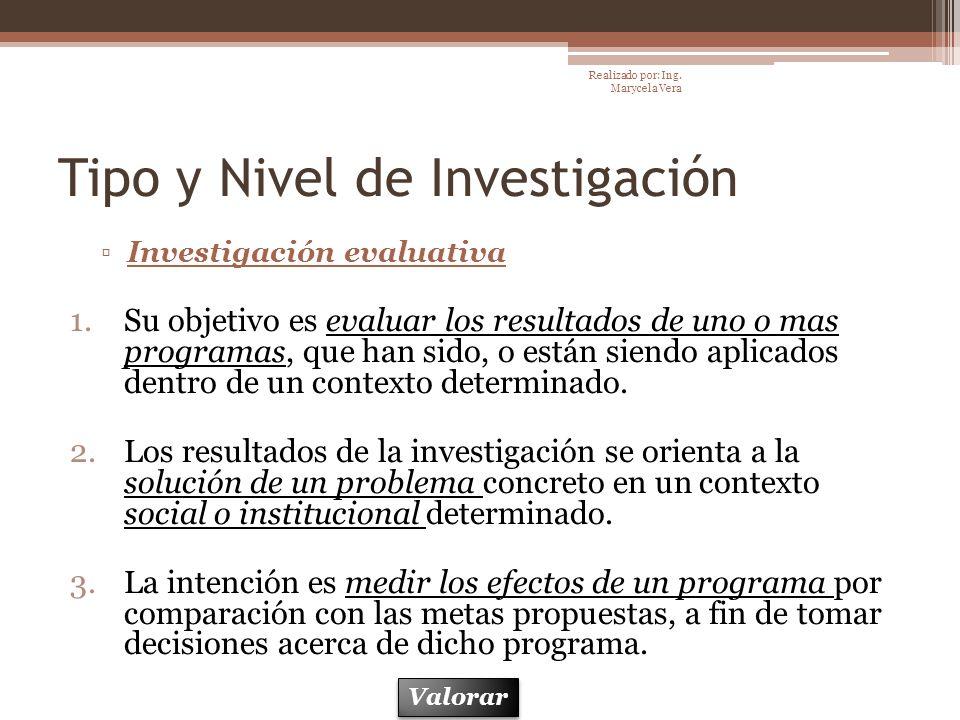 Tipo y Nivel de Investigación Investigación evaluativa 1.Su objetivo es evaluar los resultados de uno o mas programas, que han sido, o están siendo ap