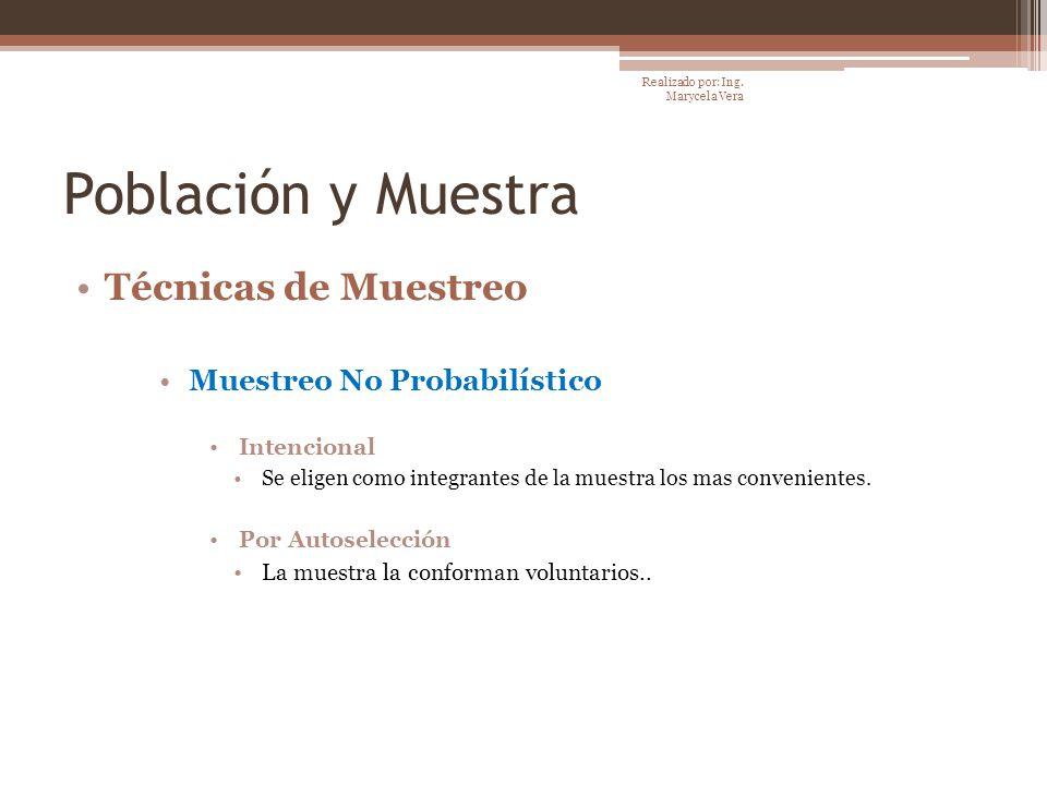 Población y Muestra Técnicas de Muestreo Muestreo No Probabilístico Intencional Se eligen como integrantes de la muestra los mas convenientes. Por Aut