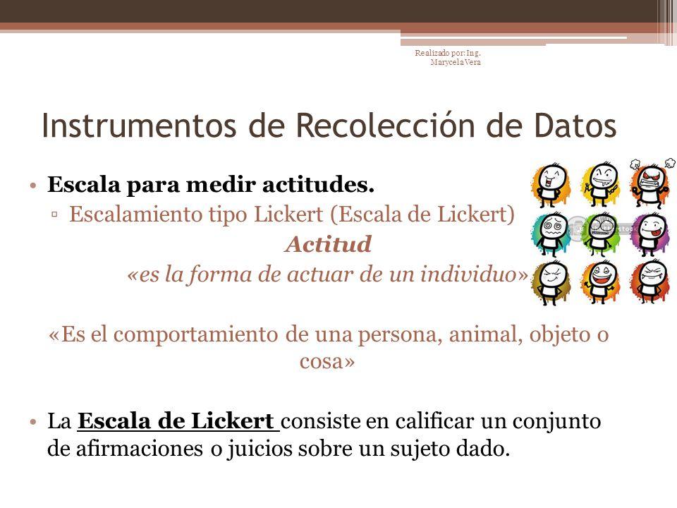 Instrumentos de Recolección de Datos Escala para medir actitudes. Escalamiento tipo Lickert (Escala de Lickert) Actitud «es la forma de actuar de un i