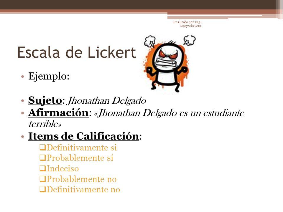 Escala de Lickert Ejemplo: Sujeto: Jhonathan Delgado Afirmación: « Jhonathan Delgado es un estudiante terrible » Items de Calificación: Definitivament