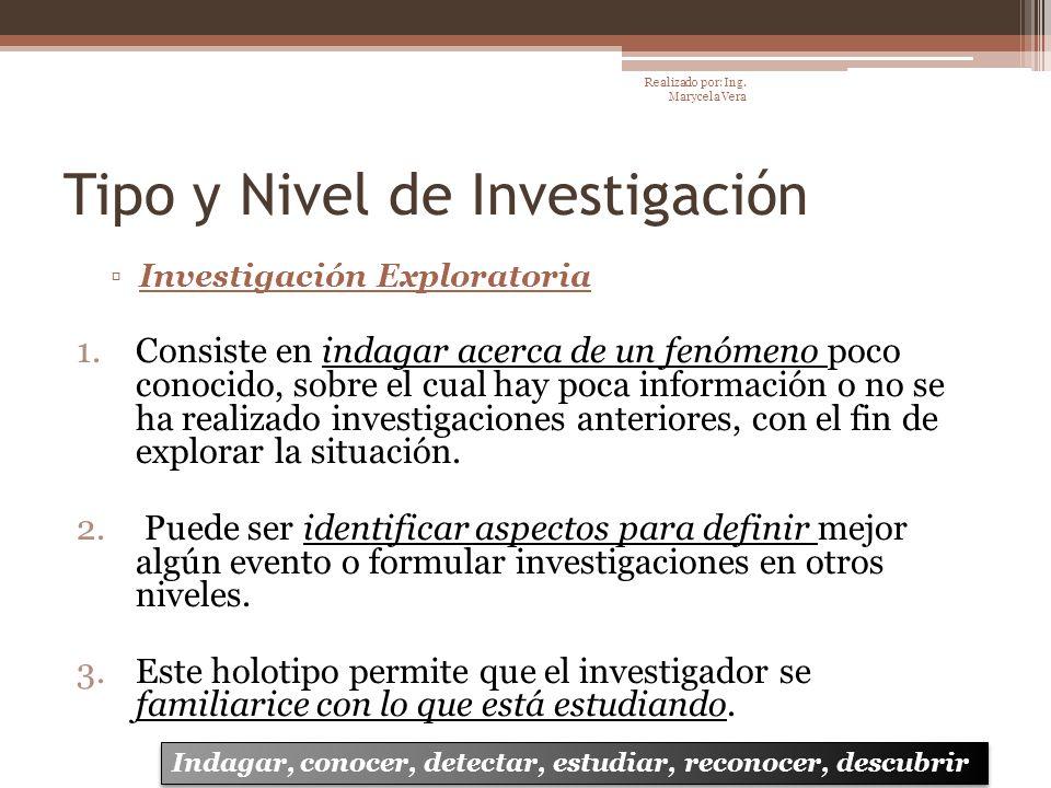 Tipo y Nivel de Investigación Investigación Exploratoria 1.Consiste en indagar acerca de un fenómeno poco conocido, sobre el cual hay poca información