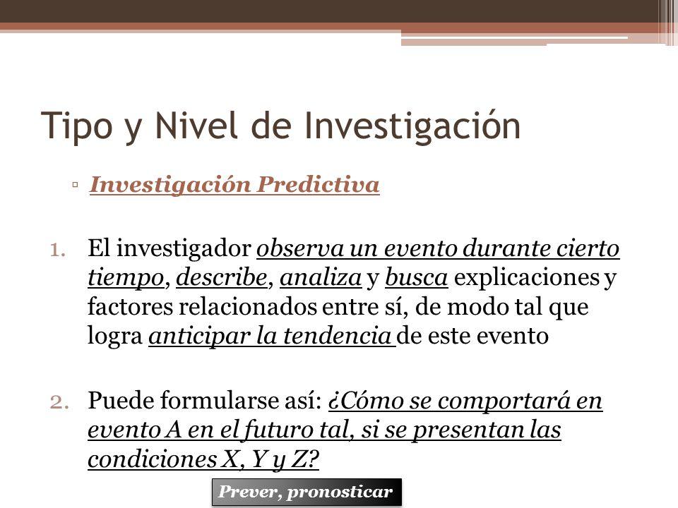 Tipo y Nivel de Investigación Investigación Predictiva 1.El investigador observa un evento durante cierto tiempo, describe, analiza y busca explicacio