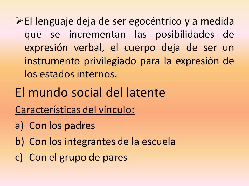 El lenguaje deja de ser egocéntrico y a medida que se incrementan las posibilidades de expresión verbal, el cuerpo deja de ser un instrumento privileg