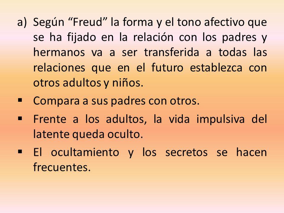 a)Según Freud la forma y el tono afectivo que se ha fijado en la relación con los padres y hermanos va a ser transferida a todas las relaciones que en