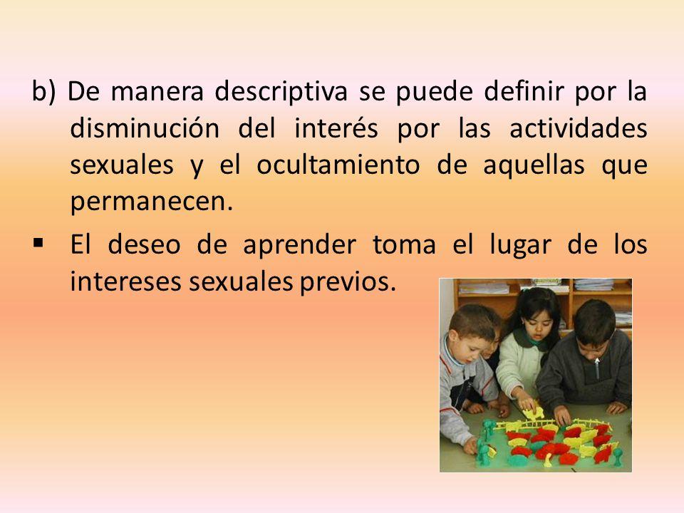 b) De manera descriptiva se puede definir por la disminución del interés por las actividades sexuales y el ocultamiento de aquellas que permanecen. El