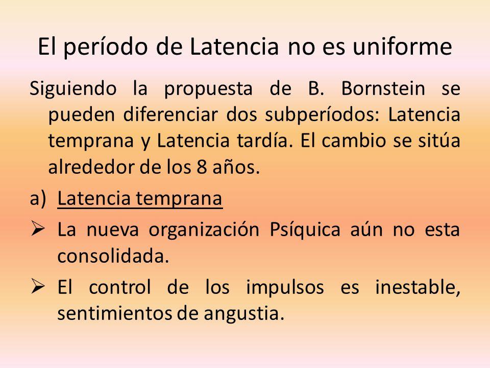 El período de Latencia no es uniforme Siguiendo la propuesta de B. Bornstein se pueden diferenciar dos subperíodos: Latencia temprana y Latencia tardí