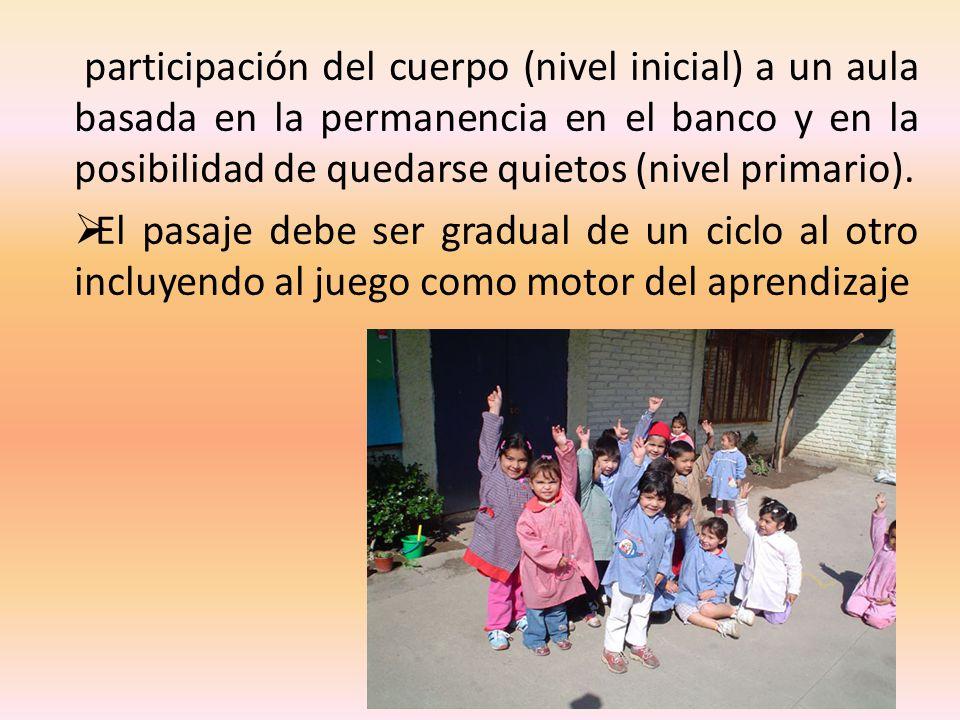 participación del cuerpo (nivel inicial) a un aula basada en la permanencia en el banco y en la posibilidad de quedarse quietos (nivel primario). El p