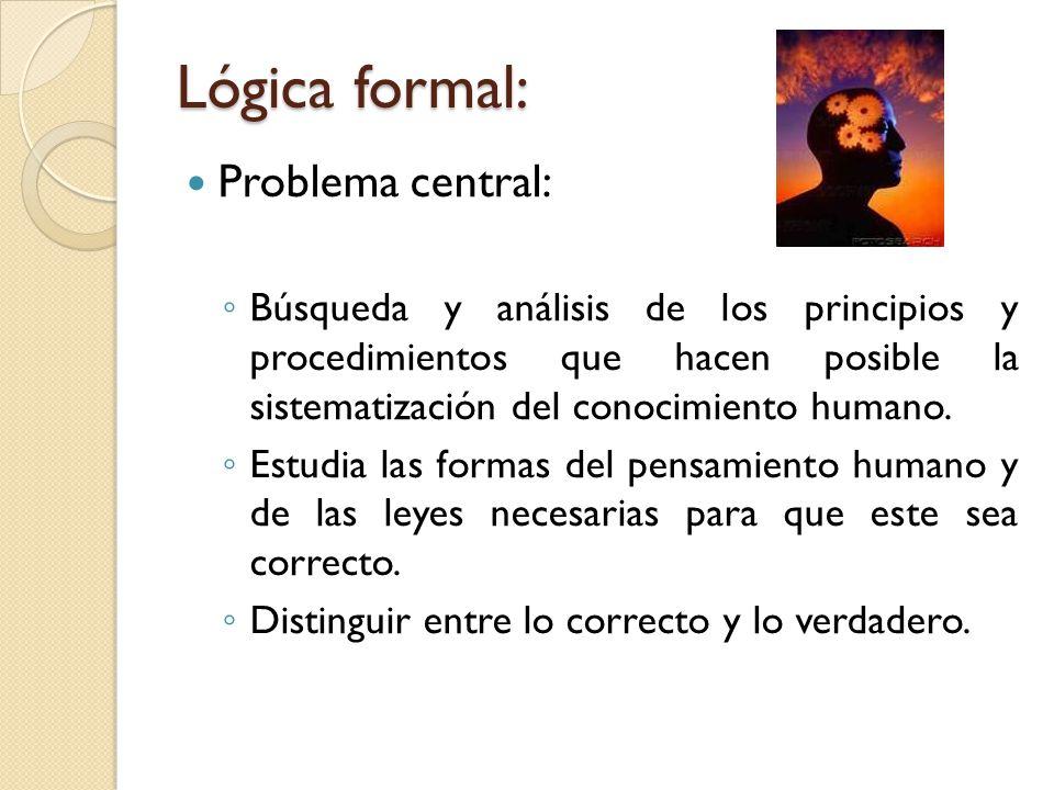 Lógica formal: Problema central: Búsqueda y análisis de los principios y procedimientos que hacen posible la sistematización del conocimiento humano.