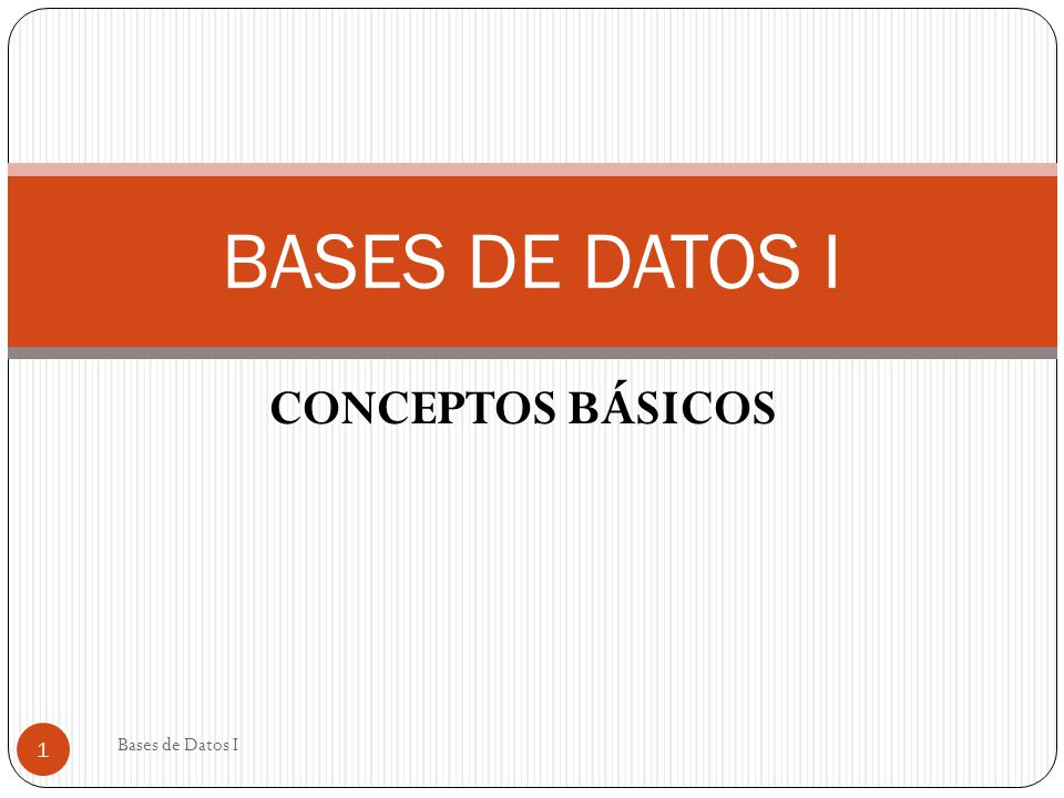 CONCEPTOS BÁSICOS BASES DE DATOS I 1 Bases de Datos I