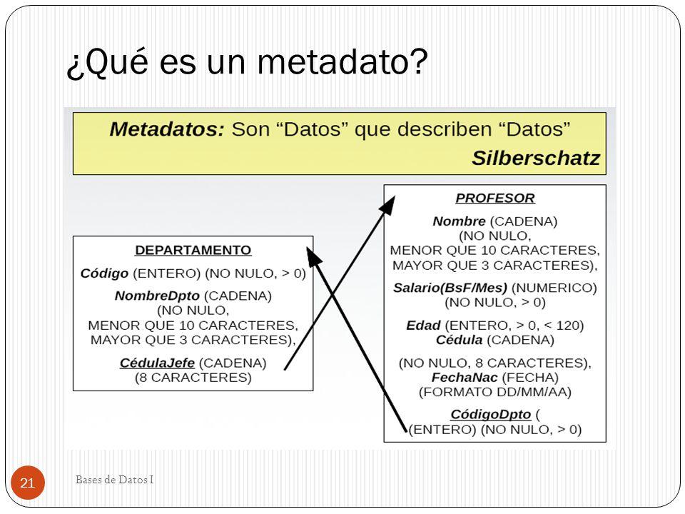 ¿Qué es un metadato? Bases de Datos I 21