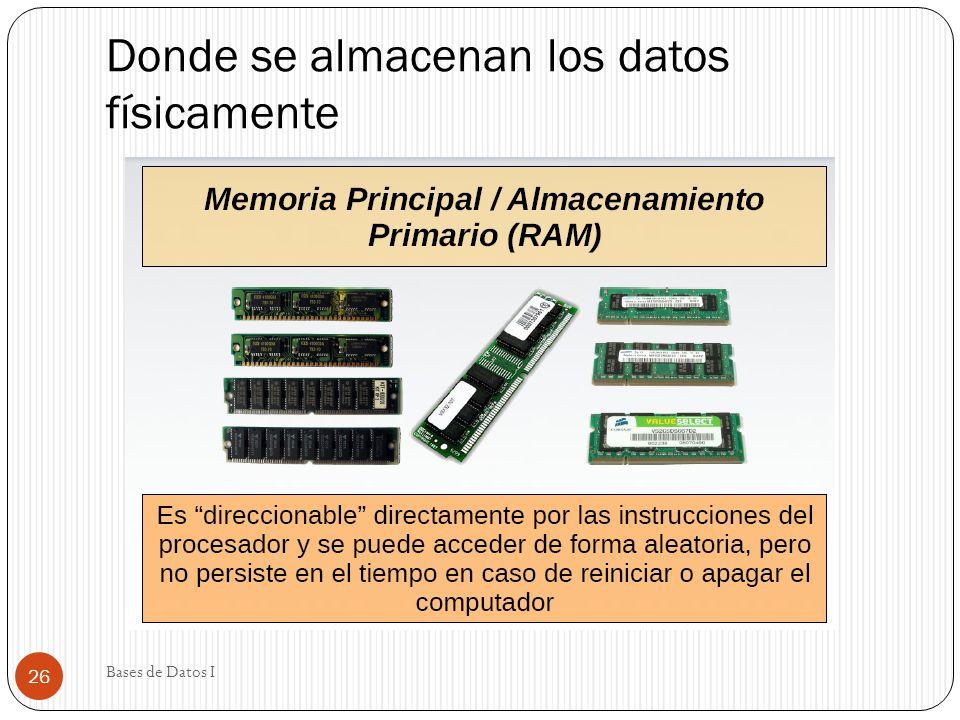 Donde se almacenan los datos físicamente Bases de Datos I 26