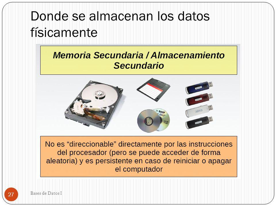 Donde se almacenan los datos físicamente Bases de Datos I 27