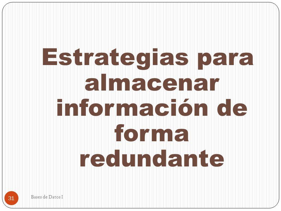 Bases de Datos I 31 Estrategias para almacenar información de forma redundante