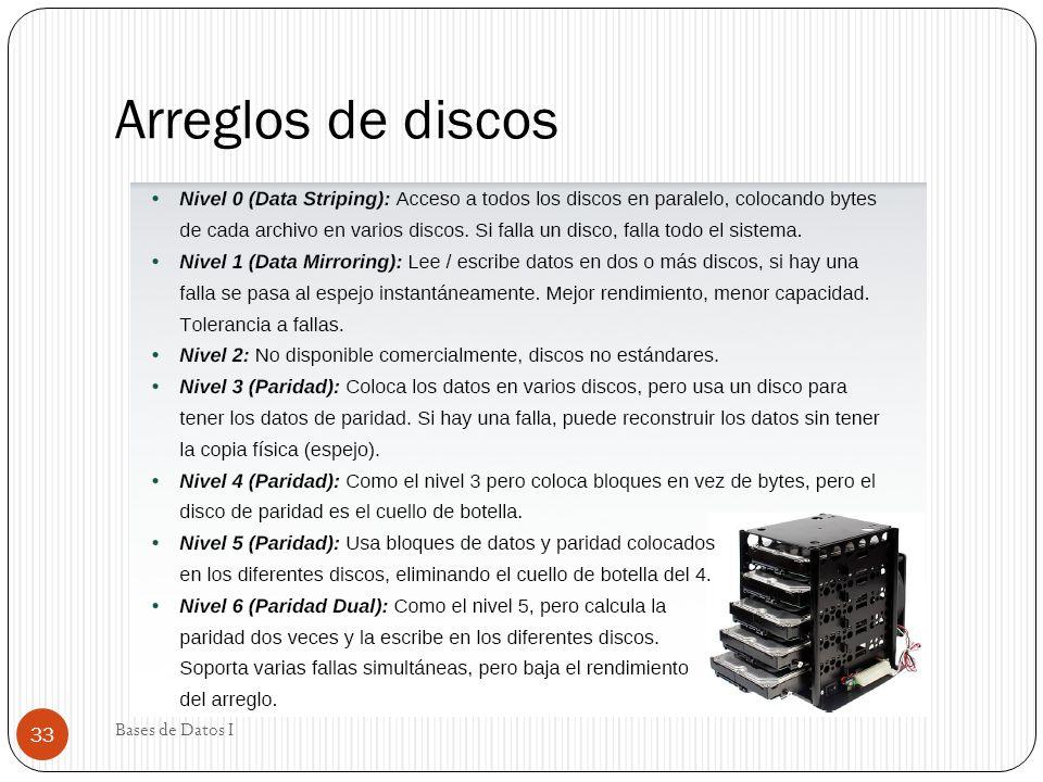 Arreglos de discos Bases de Datos I 33