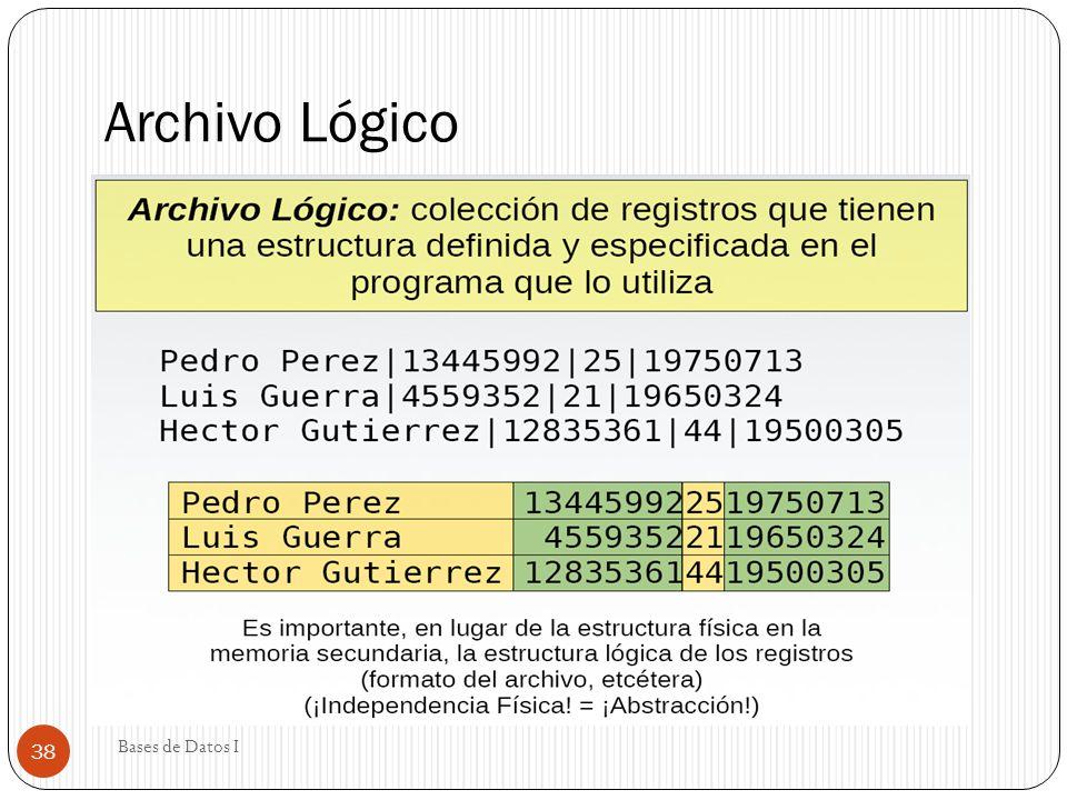 Archivo Lógico Bases de Datos I 38
