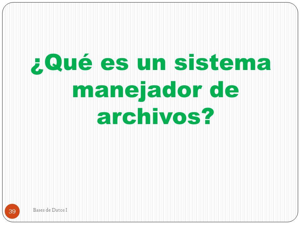 Bases de Datos I 39 ¿Qué es un sistema manejador de archivos?