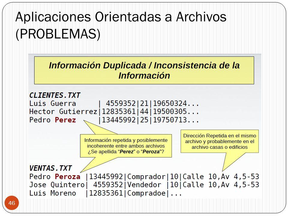 Aplicaciones Orientadas a Archivos (PROBLEMAS) 46