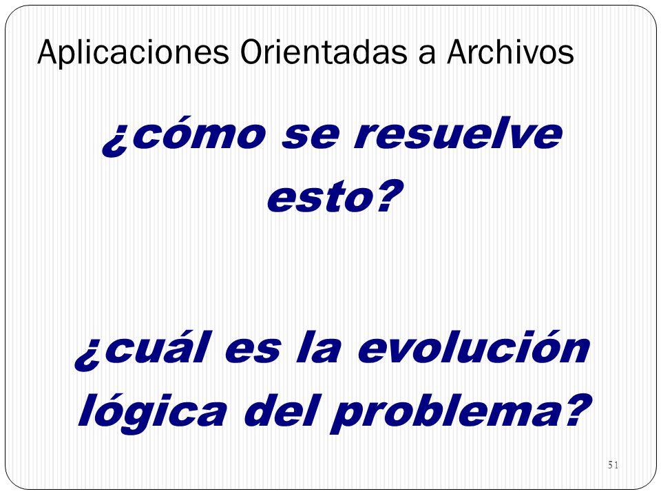 51 Aplicaciones Orientadas a Archivos ¿cómo se resuelve esto? ¿cuál es la evolución lógica del problema?