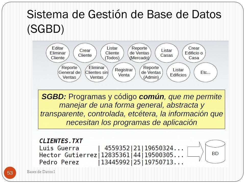 Sistema de Gestión de Base de Datos (SGBD) Bases de Datos I 53