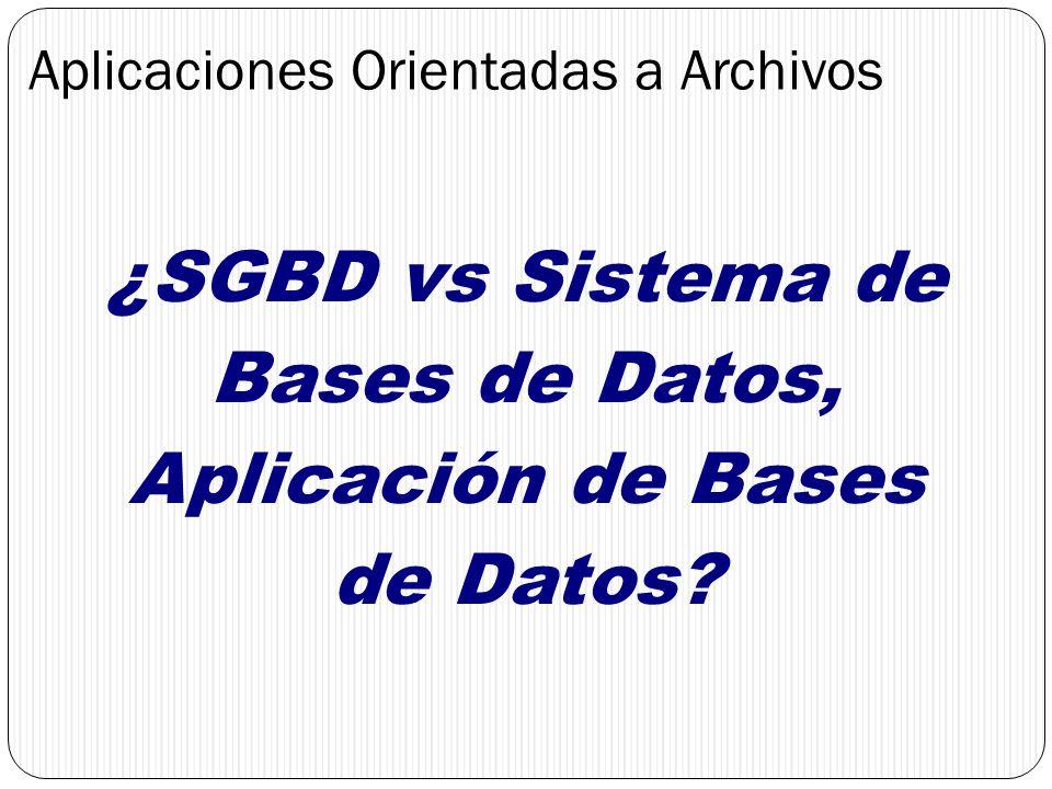 Aplicaciones Orientadas a Archivos ¿SGBD vs Sistema de Bases de Datos, Aplicación de Bases de Datos?