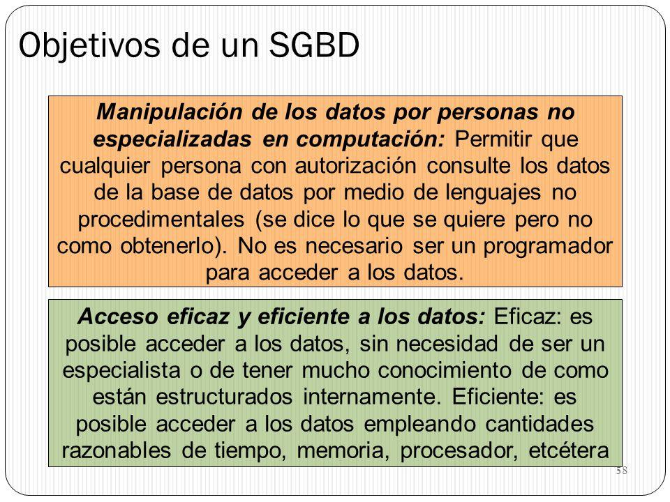 58 Objetivos de un SGBD Manipulación de los datos por personas no especializadas en computación: Permitir que cualquier persona con autorización consu