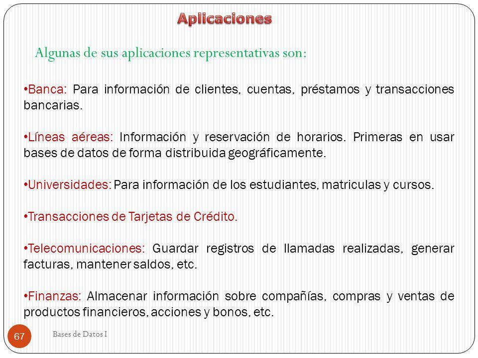Algunas de sus aplicaciones representativas son: Banca: Para información de clientes, cuentas, préstamos y transacciones bancarias. Líneas aéreas: Inf
