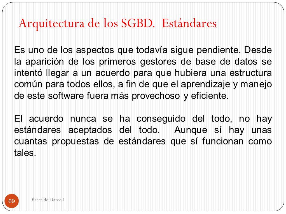 69 Arquitectura de los SGBD. Estándares Es uno de los aspectos que todavía sigue pendiente. Desde la aparición de los primeros gestores de base de dat