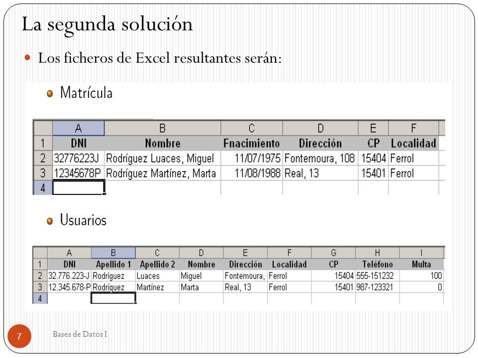 Los ficheros de Excel resultantes serán: 7 Bases de Datos I La segunda solución