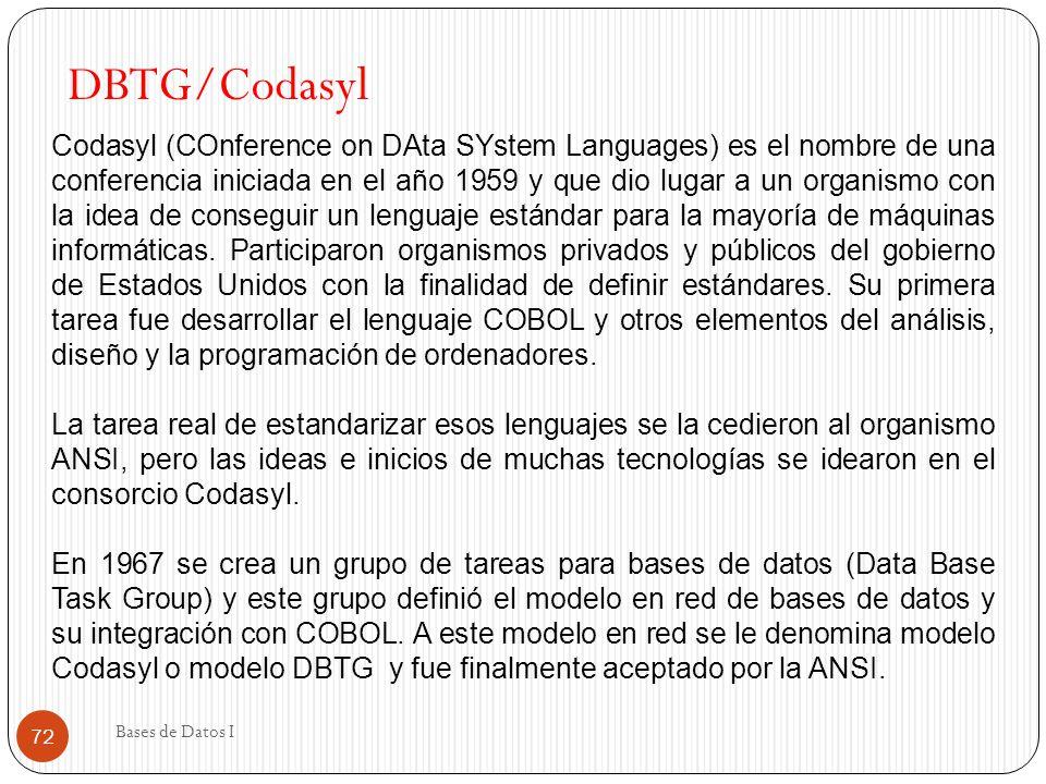 Bases de Datos I 72 DBTG/Codasyl Codasyl (COnference on DAta SYstem Languages) es el nombre de una conferencia iniciada en el año 1959 y que dio lugar