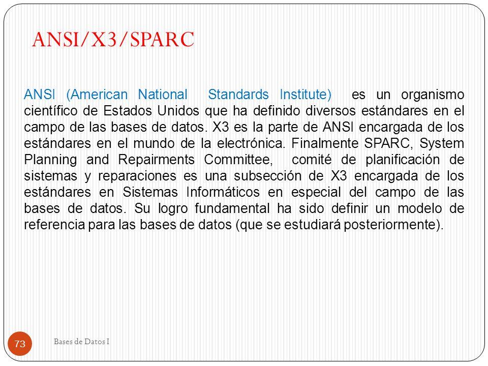 Bases de Datos I 73 ANSI/X3/SPARC ANSI (American National Standards Institute) es un organismo científico de Estados Unidos que ha definido diversos e