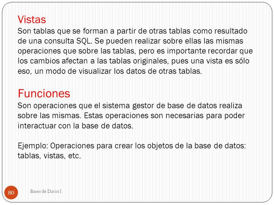 Vistas Son tablas que se forman a partir de otras tablas como resultado de una consulta SQL. Se pueden realizar sobre ellas las mismas operaciones que
