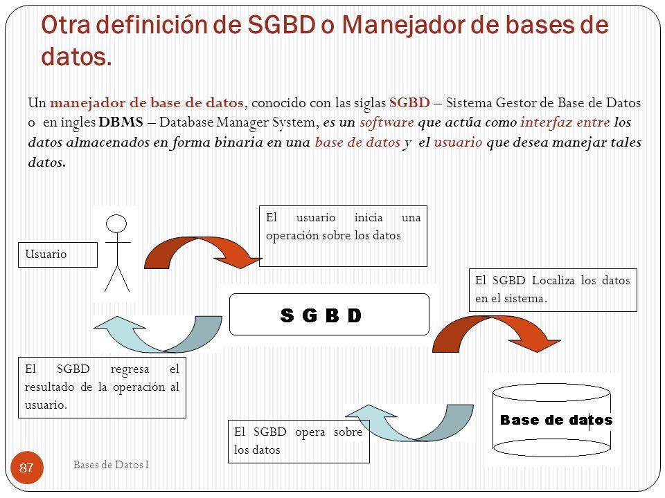 Otra definición de SGBD o Manejador de bases de datos. Un manejador de base de datos, conocido con las siglas SGBD – Sistema Gestor de Base de Datos o