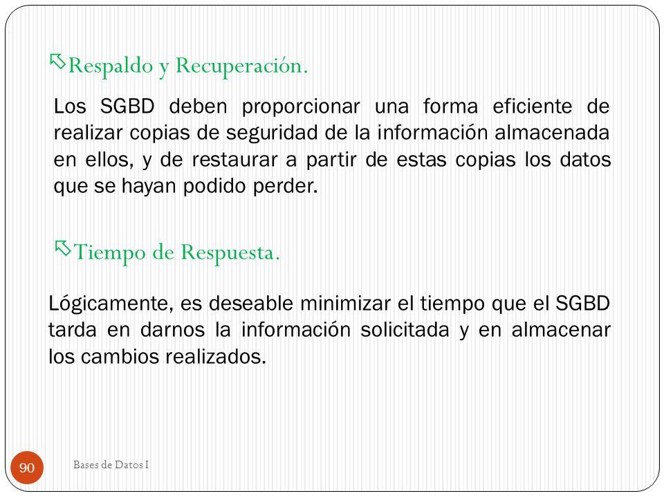 Tiempo de Respuesta. Lógicamente, es deseable minimizar el tiempo que el SGBD tarda en darnos la información solicitada y en almacenar los cambios rea