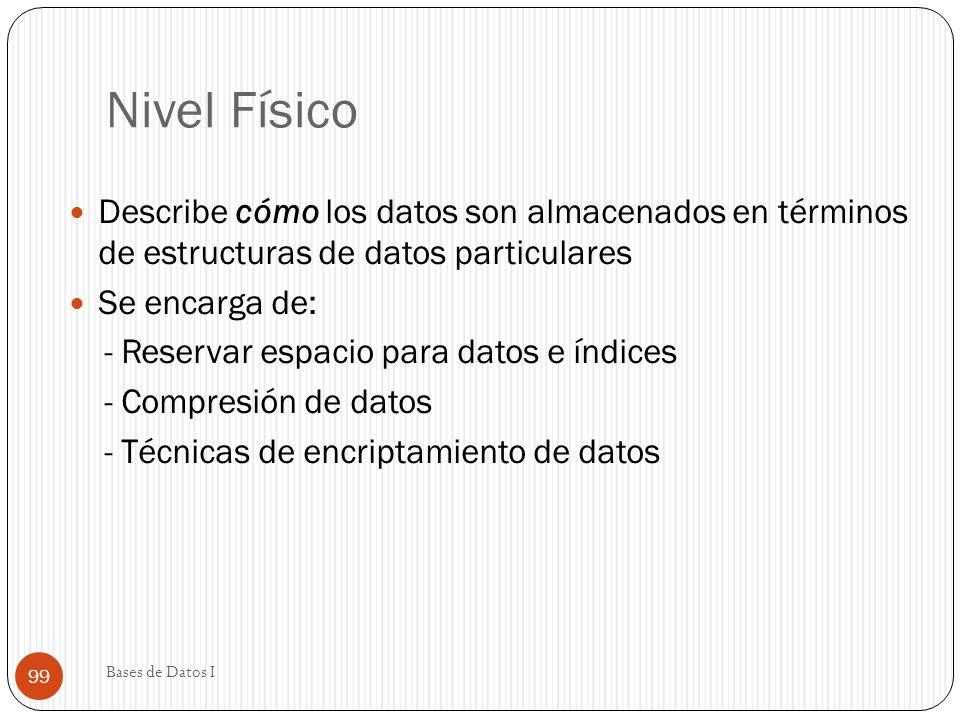 Nivel Físico Describe cómo los datos son almacenados en términos de estructuras de datos particulares Se encarga de: - Reservar espacio para datos e í