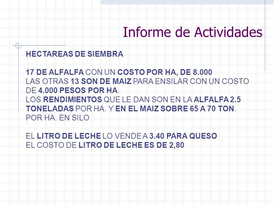 Informe de Actividades HECTAREAS DE SIEMBRA 17 DE ALFALFA CON UN COSTO POR HA, DE 8.000 LAS OTRAS 13 SON DE MAIZ PARA ENSILAR CON UN COSTO DE 4.000 PESOS POR HA.