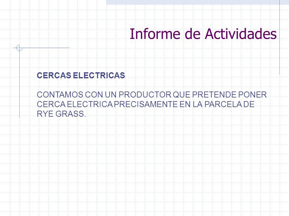 CERCAS ELECTRICAS CONTAMOS CON UN PRODUCTOR QUE PRETENDE PONER CERCA ELECTRICA PRECISAMENTE EN LA PARCELA DE RYE GRASS. Informe de Actividades