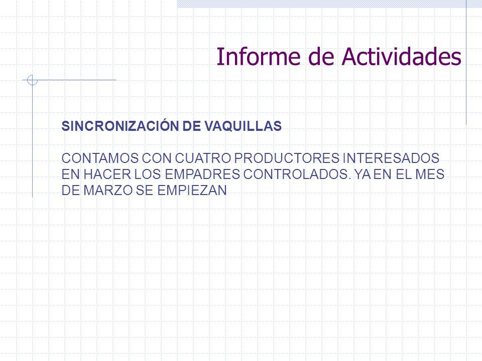SINCRONIZACIÓN DE VAQUILLAS CONTAMOS CON CUATRO PRODUCTORES INTERESADOS EN HACER LOS EMPADRES CONTROLADOS. YA EN EL MES DE MARZO SE EMPIEZAN Informe d