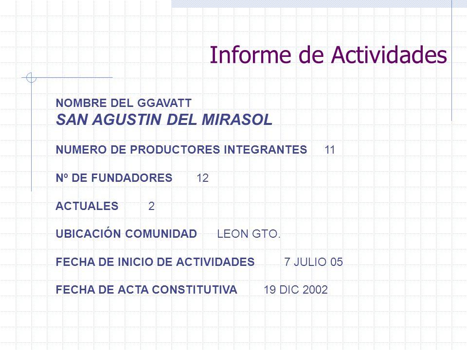 NOMBRE DEL GGAVATT SAN AGUSTIN DEL MIRASOL NUMERO DE PRODUCTORES INTEGRANTES 11 Nº DE FUNDADORES 12 ACTUALES 2 UBICACIÓN COMUNIDAD LEON GTO.