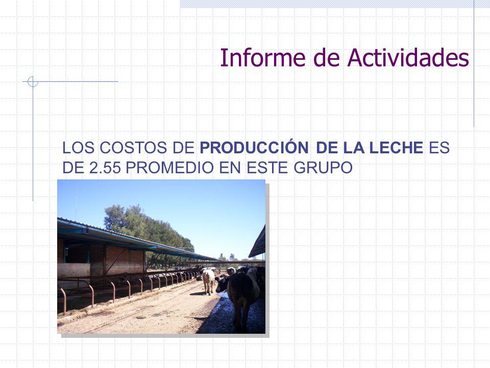 Informe de Actividades ETAPAS PRODUCTIVAS EDAD AL PRIMER SERVICIO 18 MESES PESO AL PRIMER SERVICIO 360 KILOS EDAD A LA CONCEPCIÓN 20 MESES SERVICIOS POR CONCEPCIÓN 3 EDAD AL PARTO 29 MESES PESO AL PARTO 450 KILOS DIAS AL PRIMER CALOR 45 A 60 DIAS DIAS ABIERTOS 120 DIAS PERIODO INTERPARTO 14 MESES DIAS SECAS 60 A 80 DIAS PRODUCCIÓN / DIA /LECHE 22 LITROS COSTO LITRO DE LECHE 2.55 PRECIO LITRO ENTREGA 3.30 PESO AL NACIMIENTO 48 KILOS PESO AL DESTETE 100 KILOS EDAD AL DESTETE 90 A 100 DIAS