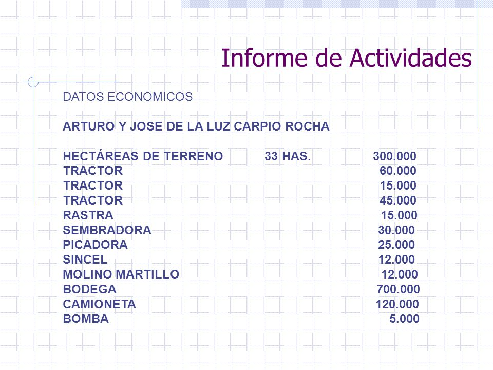 Informe de Actividades DATOS ECONOMICOS ARTURO Y JOSE DE LA LUZ CARPIO ROCHA HECTÁREAS DE TERRENO 33 HAS. 300.000 TRACTOR 60.000 TRACTOR 15.000 TRACTO