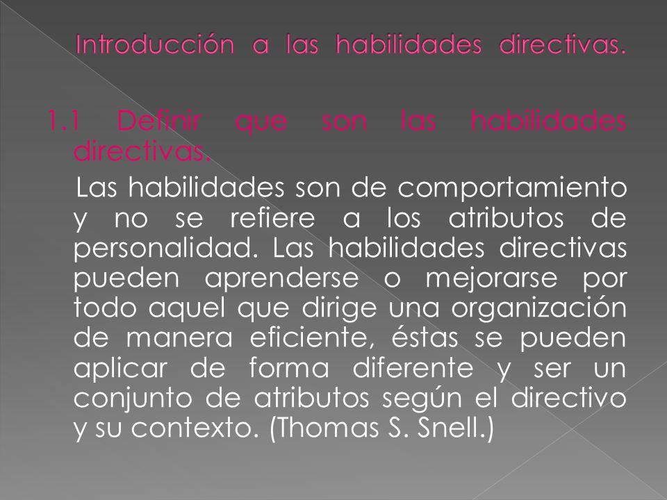 1.1 Definir que son las habilidades directivas. Las habilidades son de comportamiento y no se refiere a los atributos de personalidad. Las habilidades