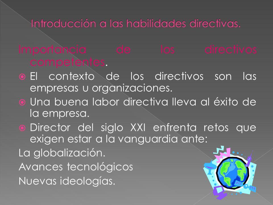 Importancia de los directivos competentes. El contexto de los directivos son las empresas u organizaciones. Una buena labor directiva lleva al éxito d