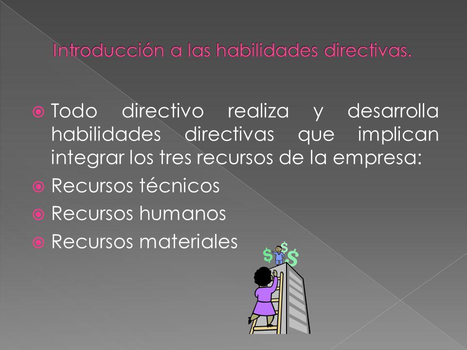 Todo directivo realiza y desarrolla habilidades directivas que implican integrar los tres recursos de la empresa: Recursos técnicos Recursos humanos R