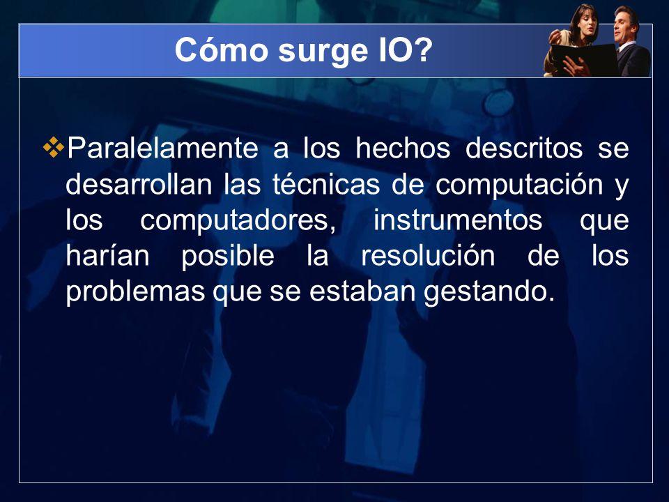 Cómo surge IO? Paralelamente a los hechos descritos se desarrollan las técnicas de computación y los computadores, instrumentos que harían posible la