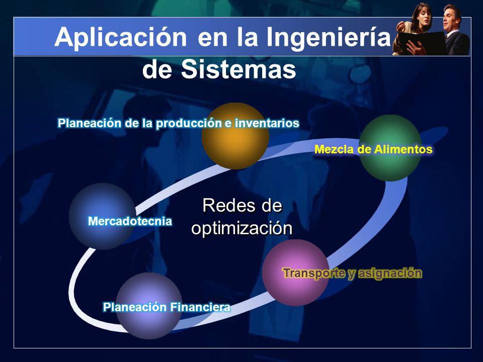 Aplicación en la Ingeniería de Sistemas Redes de optimización