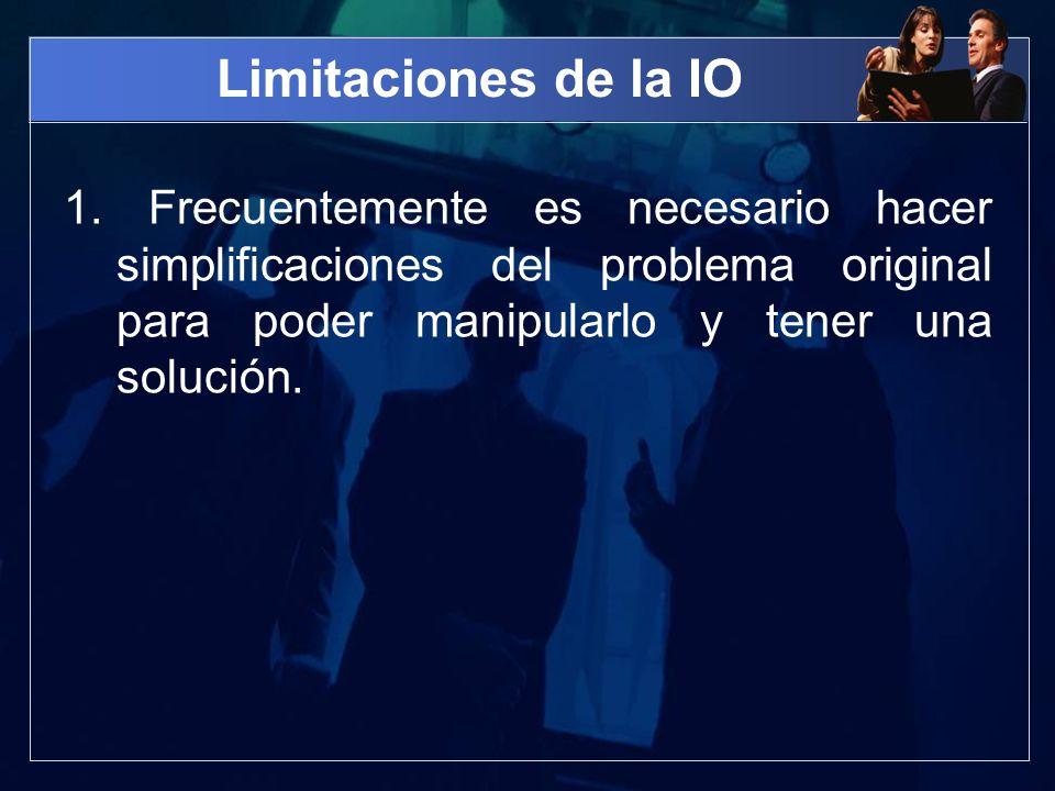 Limitaciones de la IO 1. Frecuentemente es necesario hacer simplificaciones del problema original para poder manipularlo y tener una solución.