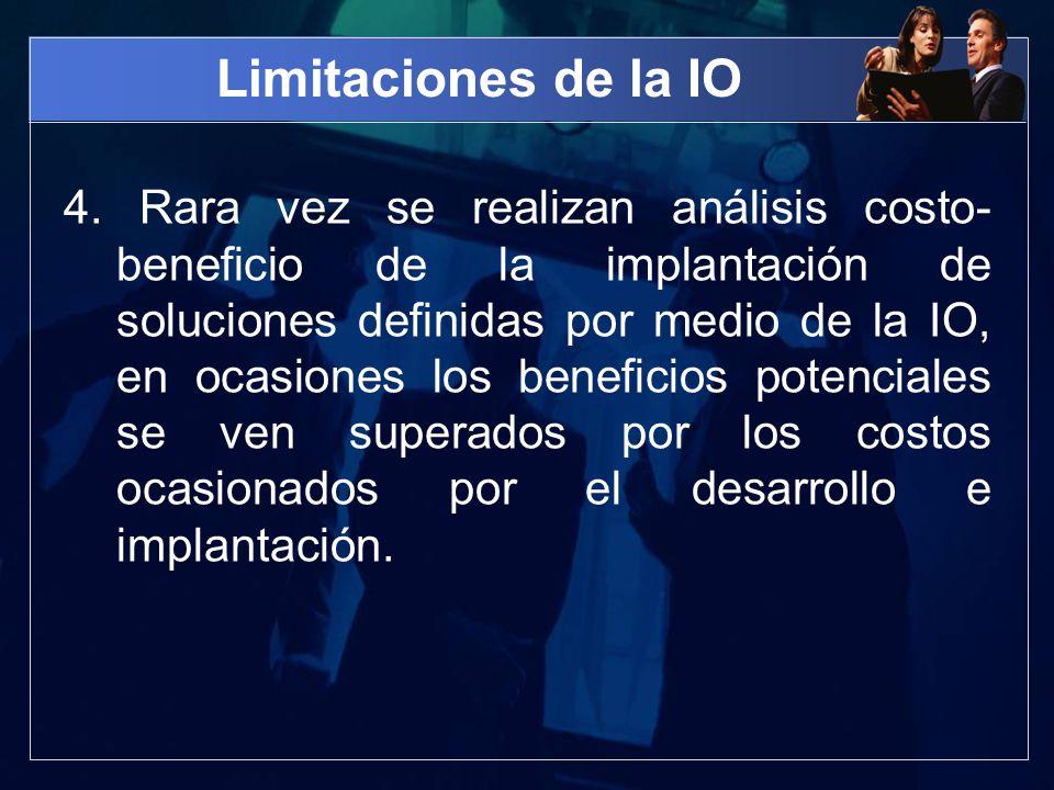 Limitaciones de la IO 4. Rara vez se realizan análisis costo- beneficio de la implantación de soluciones definidas por medio de la IO, en ocasiones lo