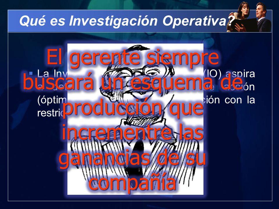Qué es Investigación Operativa? La Investigación de Operaciones (IO) aspira a determinar el mejor curso de acción (óptimo) de un problema de decición
