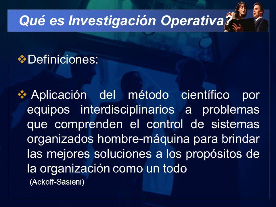 Qué es Investigación Operativa? Definiciones: Aplicación del método científico por equipos interdisciplinarios a problemas que comprenden el control d